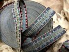 "VINTAGE EMBROIDERED RUCHE Ribbon 3/4"" FRANCE RAYON SILK 1yd Trim Jacquard"