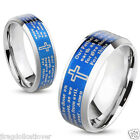 Unisex Ring Laser Etched Lords Prayer Stainless Steel IP Blue Band Size 7-12 New