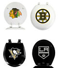 NHL TEAM LOGO BLACK OR WHITE FINISH MOLDED WOOD ROUND TOILET SEAT COVER LID