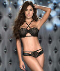 Mapale Faux Leather and Lace Bra Set Lingerie - Women's #8246