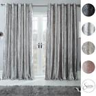 Sienna Home Crushed Velvet Curtains PAIR Eyelet Ring Top Fully Lined Ready Made