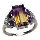 UNUSUAL 3 CT AMETRINE 925 STERLING SILVER RING SIZE 5-10