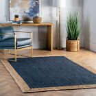 nuLOOM Contemporary Modern Simple Bordered Natural Jute Area Rug in Navy Blue