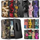 Rugged Dual Layered Case w/Stand+Holster Clip Cover for Motorola Moto E4