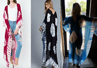 PLUS TIE DYE BURGUNDY TURQUOISE WHITE BOHO CARDIGAN WRAP LONG KIMONO COVER UP
