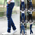 Men's Slim Fit Straight Washed Denim Pants Pencil Trousers Casual Pockets Jeans