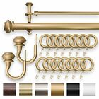 """IMPERIAL 1.25"""" Double Curtain Drapery Rod Set Matte Gold  28"""" - 240"""" Oversized"""