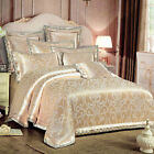 Gold Orchid Floral Satin Jacquard Egyptian Cotton Queen King Size Quilt CoverSet