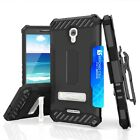 For Alcatel IDOL 4 Hybrid Armor CLIP Case+Tempered Glass Screen Protector