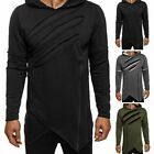 Fashion Mens Cut Ripped Long Sleeve Hoodies Sweatshirt Hooded Jumper Tops M-3XL
