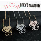 Grey's Anatomy inspired heartbeat necklace Rose Gold/Gold/Silver