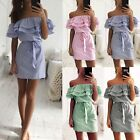 Summer Lady's Striped Off Shoulder Boat Neck Ruffles Dresses With Belt Hot Style