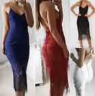 Womens Evening Cocktail Party Spaghetti Strap V neck Backless Tassel Lace Dress