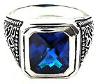 BLUE SAPPHIRE TRIBAL CELTIC STERLING 925 SILVER RING