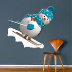 Skiing Snowman Wall Decal Winter Clings Christmas Window ...