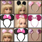 Glitter & Sequin Minnie Mouse Ears & Bow Black Pink Hen Party Fancy Dress  New