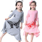 Baby Girls Kids Soft Cotton Long Sleeve Butterfly Print A-Line Maxi Long Dress