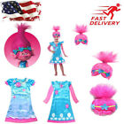 Cosplay Trolls Poppy Troll Fancy Dress Costume & Wig Child Kids Girls Outfit Set image