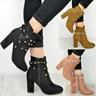 Womens Ladies Studded Ankle Boots Block Mid High Heels Winter Party Shoes Size
