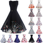 Women Vintage Style Pinup Swing Evening Party Sleeveless Rockabilly Retro Dress