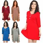 New Womens Plus Size Turn Up Sleeve Flared Tunic Swing Dress 8-26