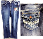 Hydraulic washed distressed slim boot embroidered jeans 14 16 18 20 22 24 26