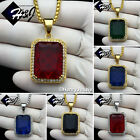 "18-36""MEN Stainless Steel 3mm Silver/Gold Box Chain Black/Blue/Ruby Pendant*P103"