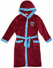 West Ham Dressing Gown /Bath Robe Soft Fleece with Hood & Pockets Age 3-4 & 5-6