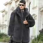 Hot Mens Warm Faux Fur Loose Gray Coat Outwear Parka Winter Casual Overcoat New