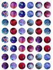 10mm Flatback Cameo Space Nebula Galaxy Mixed Colorful Round Glass Cabochon 70pc