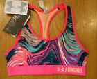 NWT UNDER ARMOUR SPORTS BRA MID-IMPACT SUPPORT PRINTED PINK GIRLS MEDIUM XL