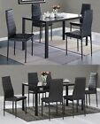 WestWood Glass Dining Table With 4/6 Chairs Set Faux Leather Dining room Black