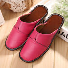Women House Genuine Cow Leather Slippers Closed Toe Soft Indoor Home Flat Shoes