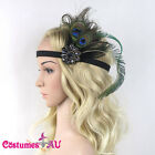 1920s Headband Peacock Feather Bridal Great Gatsby Flapper Headpiece Gangster