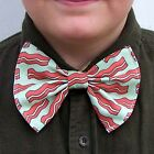 Bacon Bow Tie Meat Breakfast Diner Food bowtie Boys Men Dads Prom Tux Groom