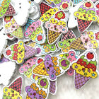 10 50 100pcs Mix Ice cream Cartoons Wood Sewing Buttons Scrapbooking WB375