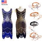 1920s Flapper Dress Great Gatsby Charleston Party Vintage Sequin Fringed Dresses