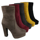Women's Side Zipper Platform Wrapped Chunky Heel Ankle Booties