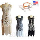 1920's Flapper Dress Great Gatsby Gown Cocktail Art Deco Sequins Fringe Dresses