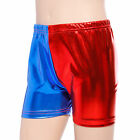 GIRLS HARLEY QUINN METALLIC SHORTS KIDS RED BLUE HOT PANTS SUICIDE SQUAD