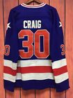 1980 Miracle On Ice Team USA Jim Craig 30 Movie Ice Hockey Jersey all Stitched