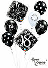 Black and White 18th Birthday Balloon Bouquet Adult Party Decorations