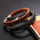 Men Braided Wristband Fashion Stainless Steel Clasp Leather Bracelet Black Brown