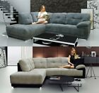 NEW Alexandria Corner Sofa RH LH Grey Fabric Mink Black Brown Solid Chrome