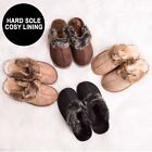 New Ladies Womens Hard Sole Warm Winter Furry Slip On Mules Slippers Shoes Size