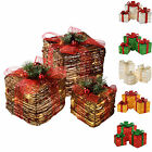 Pre Lit Gift Box Silhouette Christmas Decoration LEDs, Choose Colour