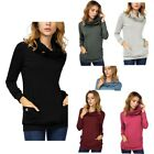 Women's Casual Long Sleeve Button Cowl Neck Slim Fit Tunic Tops with Pockets