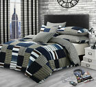 Blue Denim Patchwork Duvet Set Quilt Cover Pillowcase Bedding Reversible Check