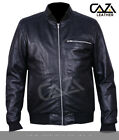 MEN'S BLACK LEATHER BOMBER JACKET CLASSIC SOFT GENUINE SHEEPSKIN BIKER STYLE