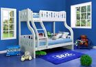 White Triple Wooden Bunk Beds With Drawers - 3ft & Double Bed | 2 FREE PILLOWS